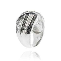 DB Designs Black and White 1/2ct TDW Diamond Criss-cross Band Ring - Thumbnail 1
