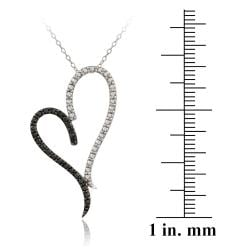 DB Designs Sterling Silver Black Diamond Accent Heart Necklace - Thumbnail 2