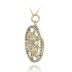 DB Designs Two Tone Sterling Silver Diamond Accent Filigree Medallion Necklace - Thumbnail 1