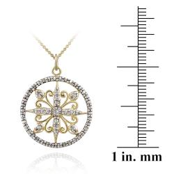 DB Designs Two Tone Sterling Silver Diamond Accent Filigree Medallion Necklace - Thumbnail 2
