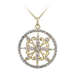 DB Designs Two Tone Sterling Silver Diamond Accent Filigree Medallion Necklace