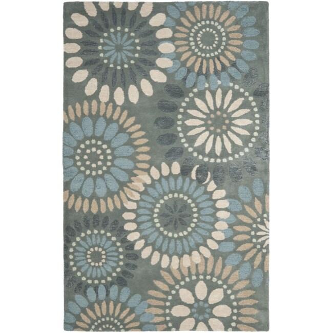 Safavieh Handmade Botanical Gardens Grey Wool Rug (5' x 8')