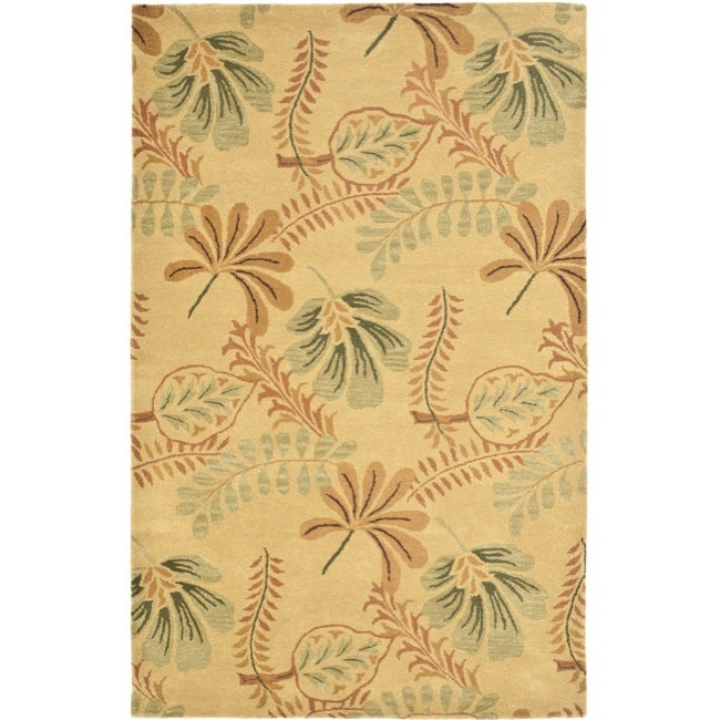 Safavieh Handmade Botanical Gardens Beige Wool Rug (5' x 8')