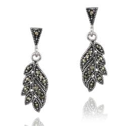 Glitzy Rocks Sterling Silver Marcasite Dangling Leaf Earrings
