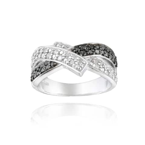 DB Designs Sterling Silver 1/4ctw TDW Black And White Diamond Crossover Ring