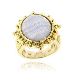 Glitzy Rocks Goldtone Lavender Lace Ring