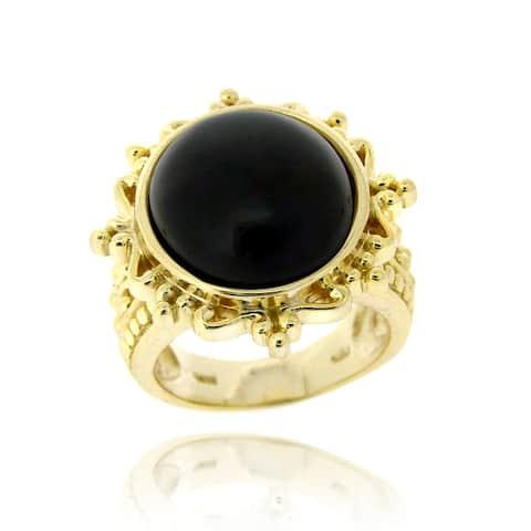 Glitzy Rocks Goldtone Onyx Fashion Ring