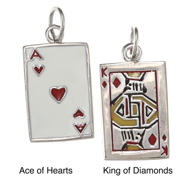La Preciosa Sterling Silver Enamel Playing Card Charm