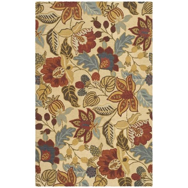Safavieh Handmade Jardin Foliage Beige/ Multi Wool Rug (7' 6 x 9' 6)