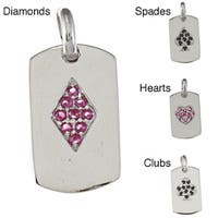 La Preciosa Sterling Silver Cubic Zirconia Playing Card Charm