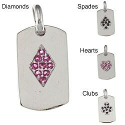 La Preciosa Sterling Silver Cubic Zirconia Playing Card Charm