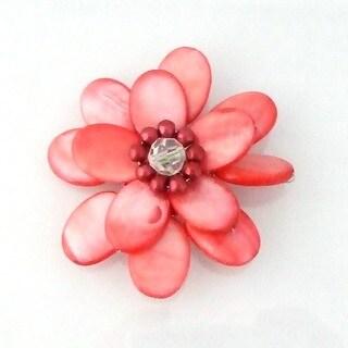 Handmade Red-orange Mother of Pearl Sweet Azalea Floral Pin/ Brooch (Thailand)