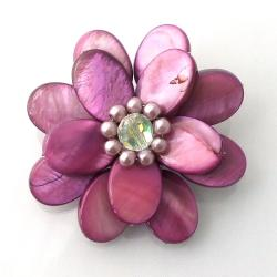 Marroon Mother of Pearl Sweet Azalea Floral Pin/ Brooch (Thailand)