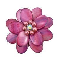 Handmade Marroon Mother of Pearl Sweet Azalea Floral Pin/ Brooch (Thailand)