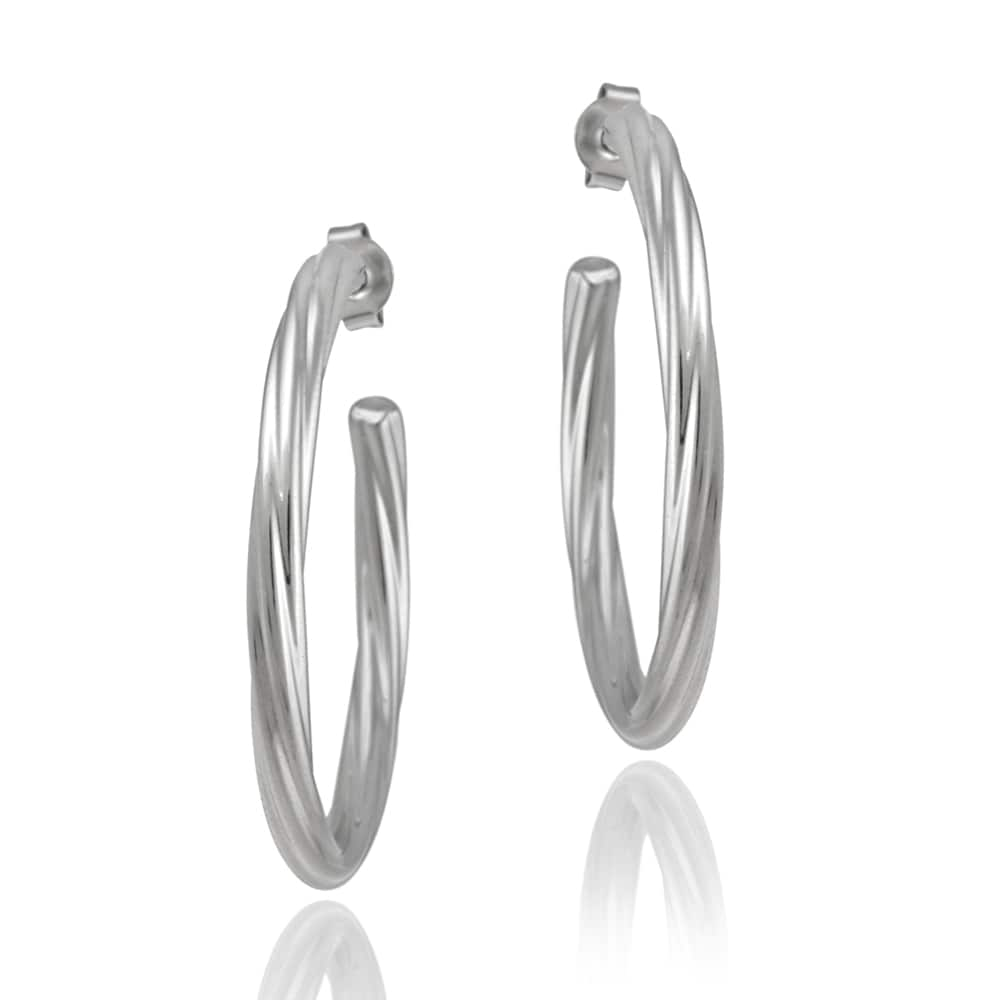 Mondevio Stainless Steel Twisted Open Hoop Earrings