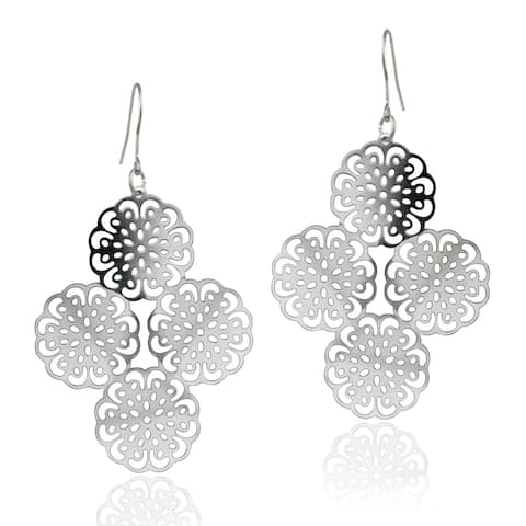 Mondevio Stainless Steel Cut Out Design Cluster of Flowers Earrings