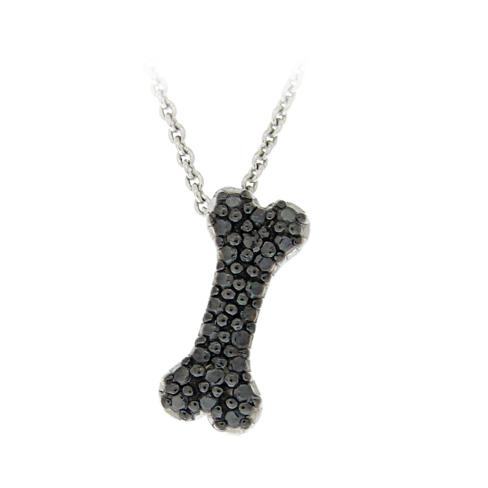 DB Designs Sterling Silver Black Diamond Accent Dog Bone necklace