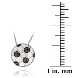 DB Designs Sterling Silver Black Diamond Accent Soccer Ball Necklace - Thumbnail 2