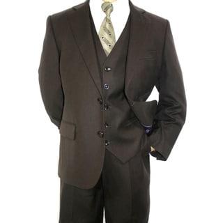 Ferrecci Boy's Dark Brown 3-piece 2-button Suit
