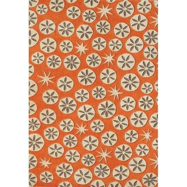 Alliyah Handmade Coral Rose New Zealand Blend Wool Rug - 8'x10'
