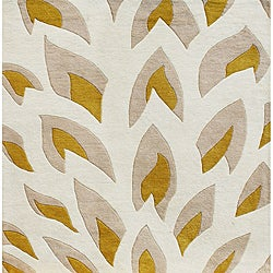 Hand-tufted Flame Inspiration Beige Wool Rug (6' x 6')