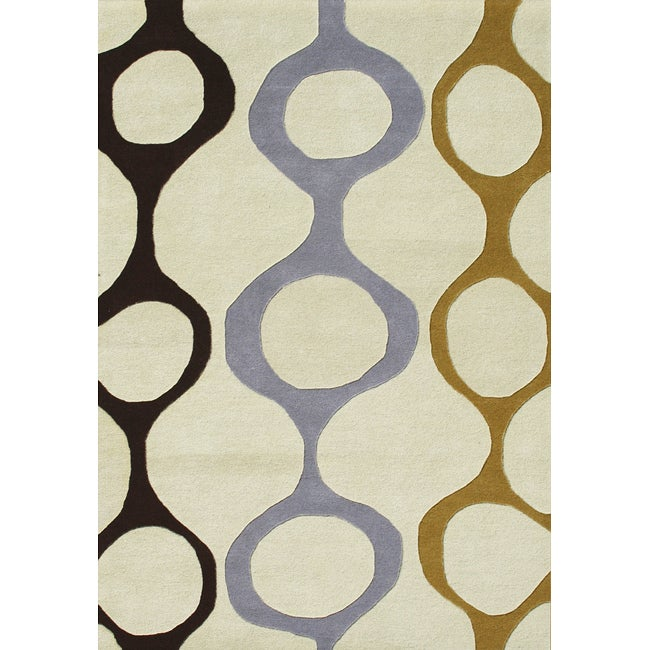 Alliyah Handmade Cream New Zealand Blend Wool Rug(8 x 10)