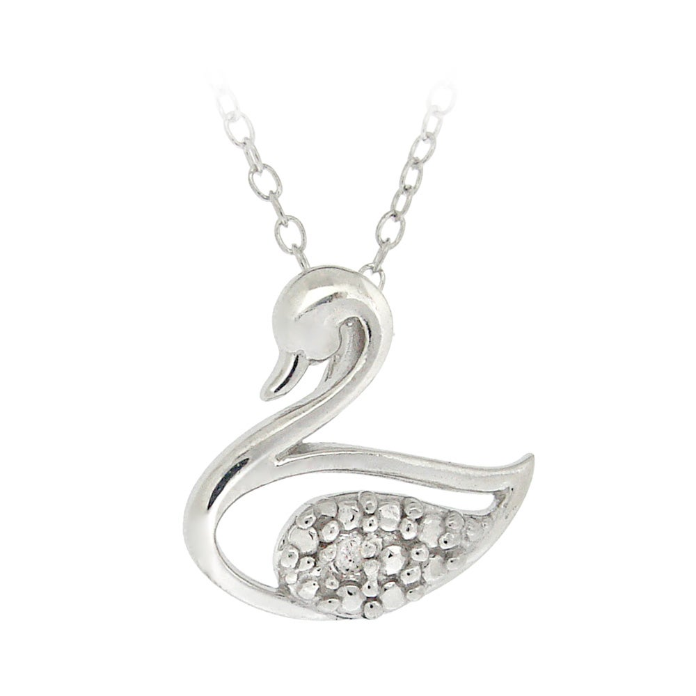 DB Designs Sterling Silver Diamond Accent Swan Necklace
