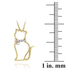 DB Designs 18k Yellow Gold Over Silver Diamond Accent Cat Necklace