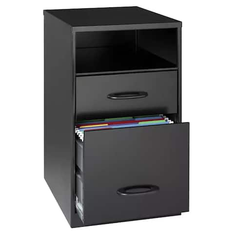 """Space Solutions 18"""" Deep 2-drawer Metal File Cabinet with Shelf, Black"""