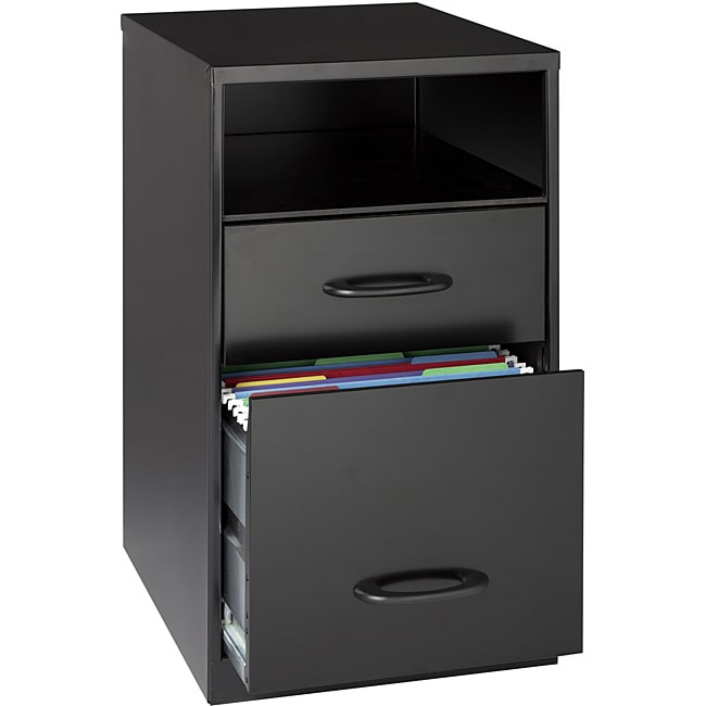 Office Designs Black Steel 2-drawer File Cabinet with Shelf - Thumbnail 0