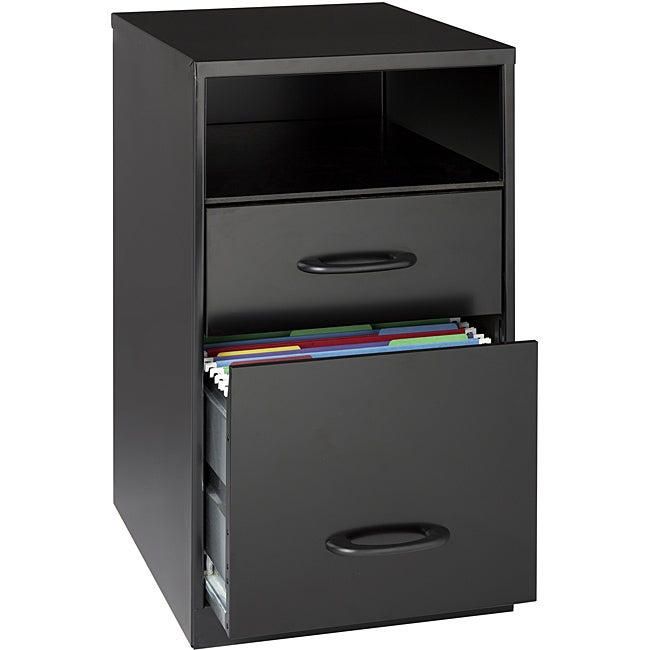 E Solutions 18 Deep 2 Drawer Metal File Cabinet With Shelf Black