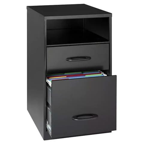 "Space Solutions 18"" Deep 2-drawer Metal File Cabinet with Shelf, Black"