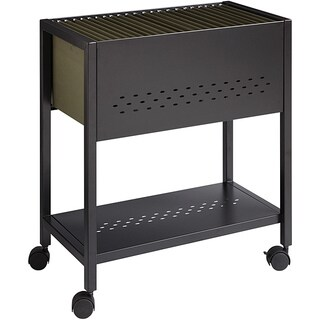 "Space Solutions 24"" D Mobile File Cart with Locking Casters, Black"