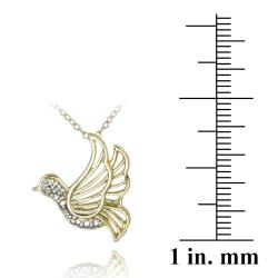 DB Designs 18k Yellow Gold Over Sterling Silver Diamond Accent Bird Necklace - Thumbnail 2