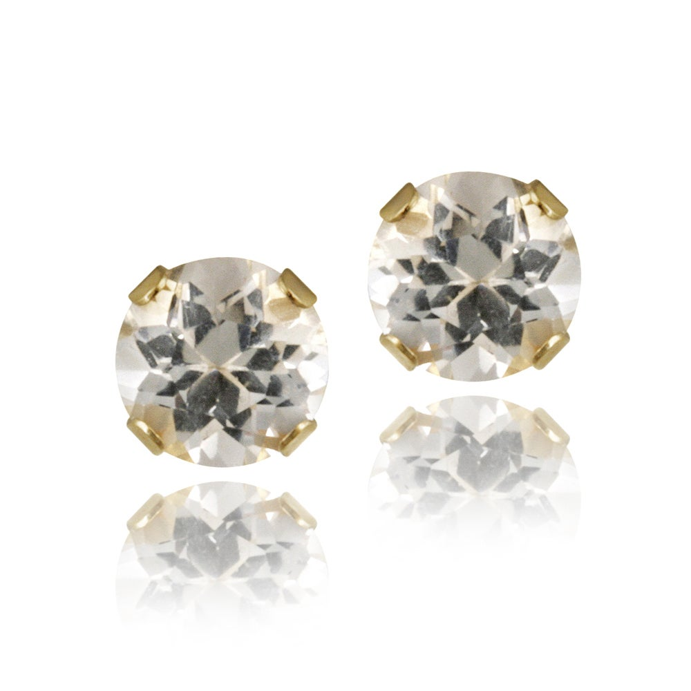 Glitzy Rocks 14k Yellow Gold 5 8ct Tgw 4mm White Topaz Stud Earrings