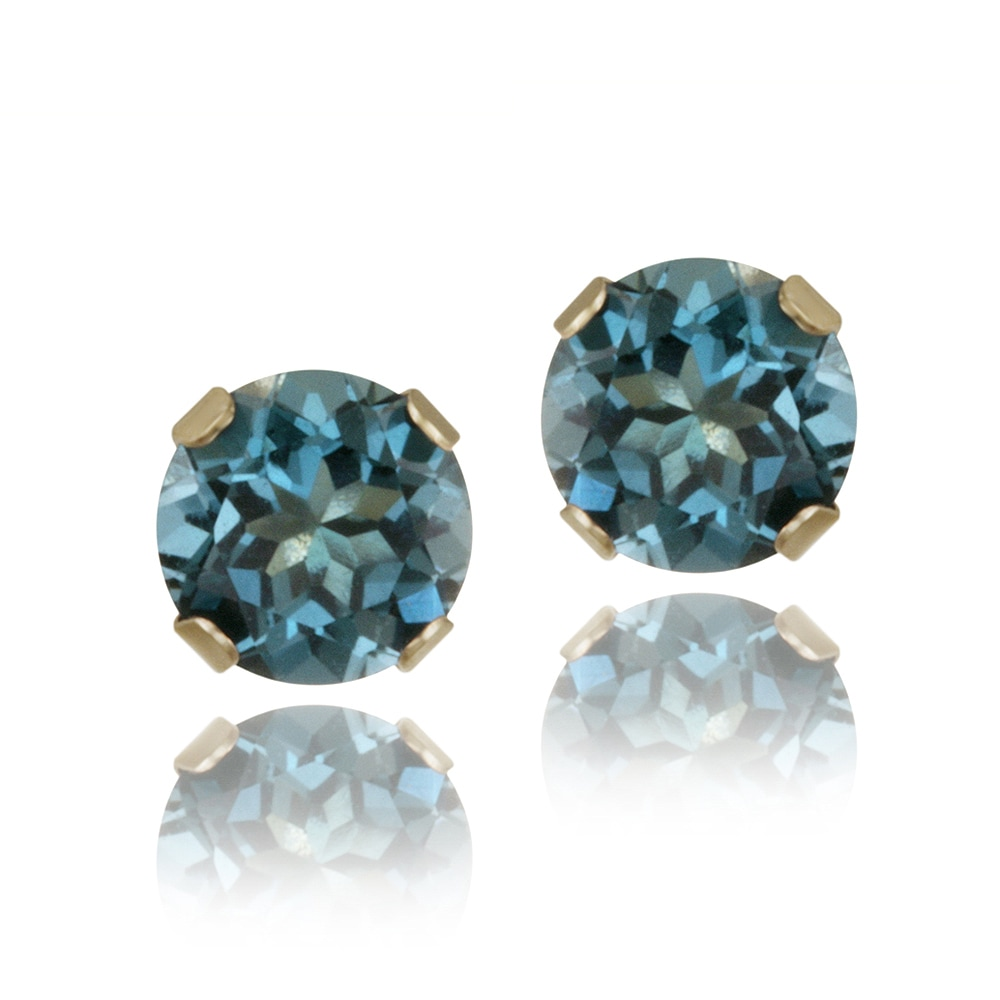 Glitzy Rocks 14 karat Yellow Gold 5/8ct TGW 4mm London Blue Topaz Stud Earrings