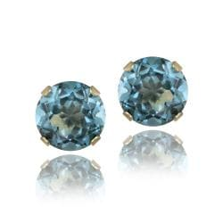 Glitzy Rocks 14k Gold 3 1/5ct TGW London Blue Topaz Stud Earrings