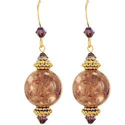 Gilded Marble Amthyst Earrings