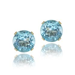 Glitzy Rocks 14k Yellow Gold 3 1/5ct TGW 7mm Swiss Blue Topaz Stud Earrings