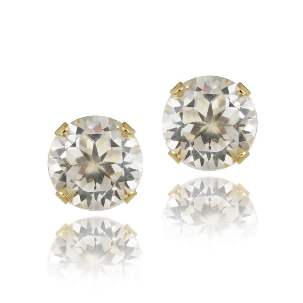 Glitzy Rocks 14k Yellow Gold 3 1 5ct Tgw White Topaz Stud Earrings
