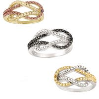 DB Designs 18k Gold Over Silver Diamond Accent Love Knot Ring