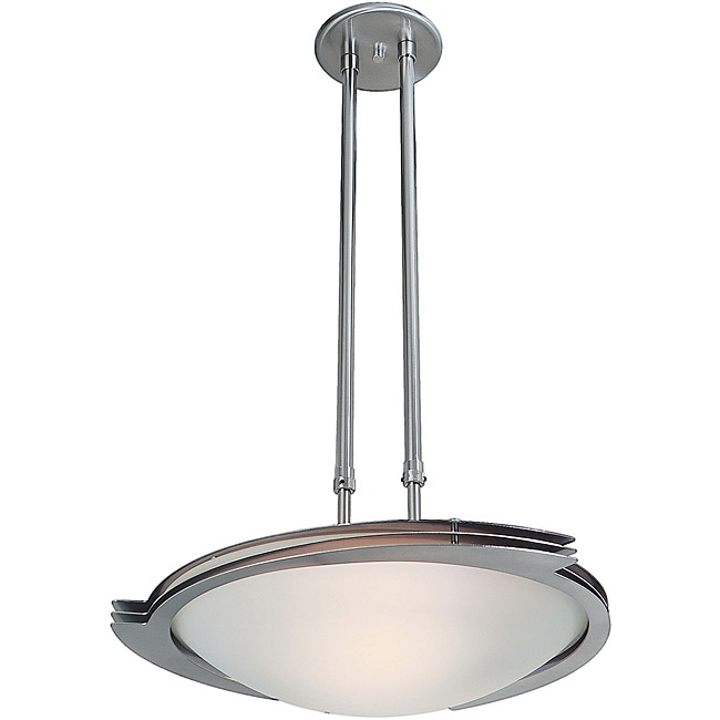 Triton Brushed Steel Frosted Glass Adjustable Pendant