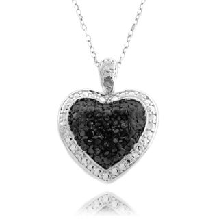 Finesque Silverplated 1/10ct TDW Black and White Diamond Necklace (I-J, I2-I3)