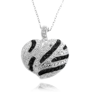 Finesque Silverplated 1/4ct TDW Black Diamond Heart Necklace