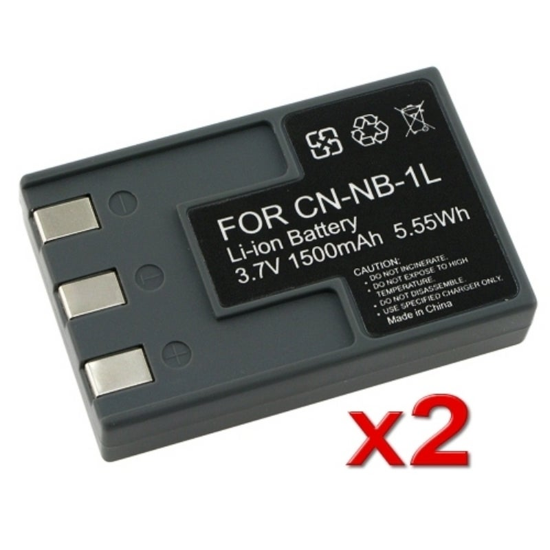 INSTEN Two Battery Pack for Canon NB-1LH / NB-1L / S410 S500