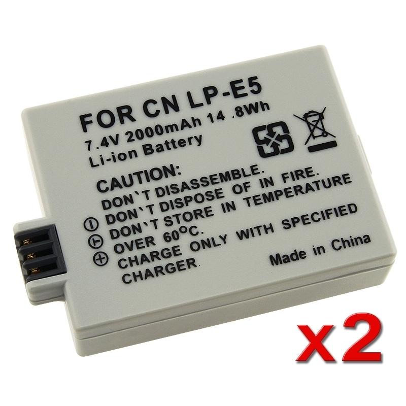 INSTEN Battery for Canon 450D 1000D Rebel Xsi T1i LP-E5 (Pack of 2)