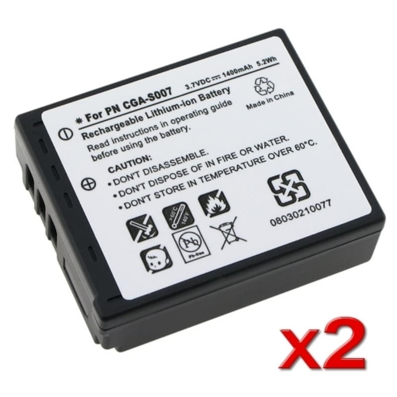 INSTEN CGA-S007A/ 1B 2-pack Batteries for Panasonic Lumix DMC-TZ5
