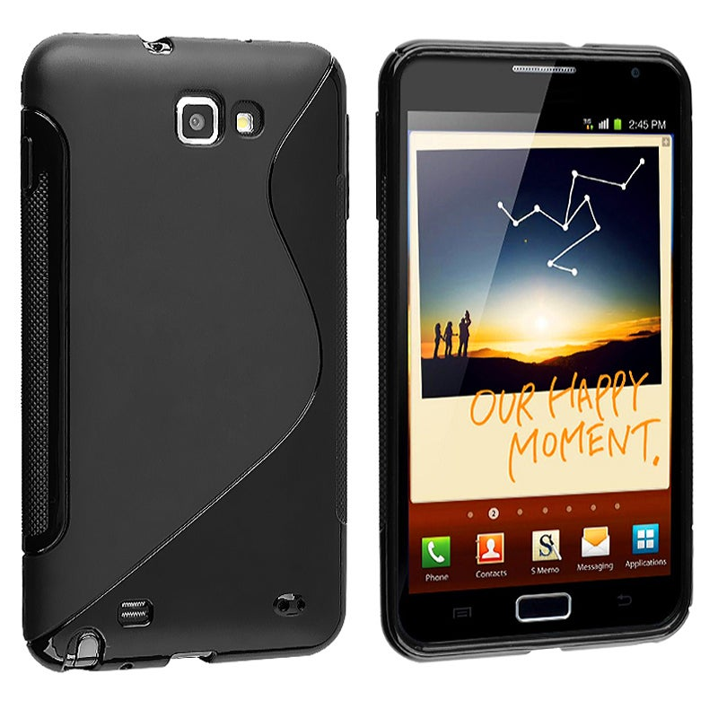 INSTEN Frost Black S Shape TPU Rubber Skin Phone Case Cover for Samsung Galaxy Note N7000