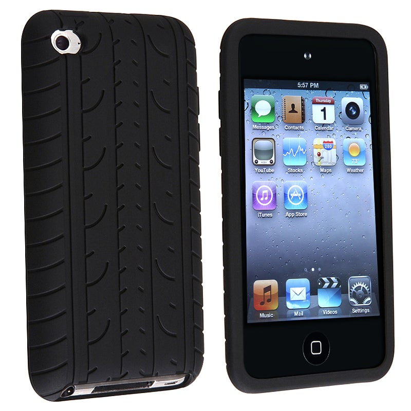 BasAcc Black Tire Tread Silicone Case for Apple iPod Touch 4