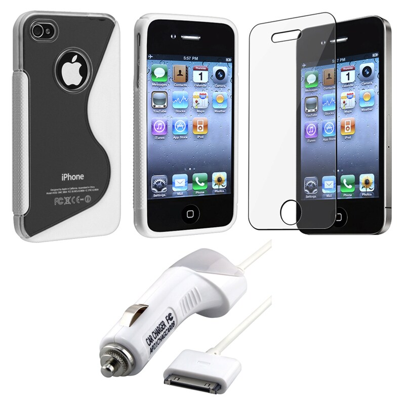 White Case/ Screen Protector/ Car Charger for Apple iPhone 4S